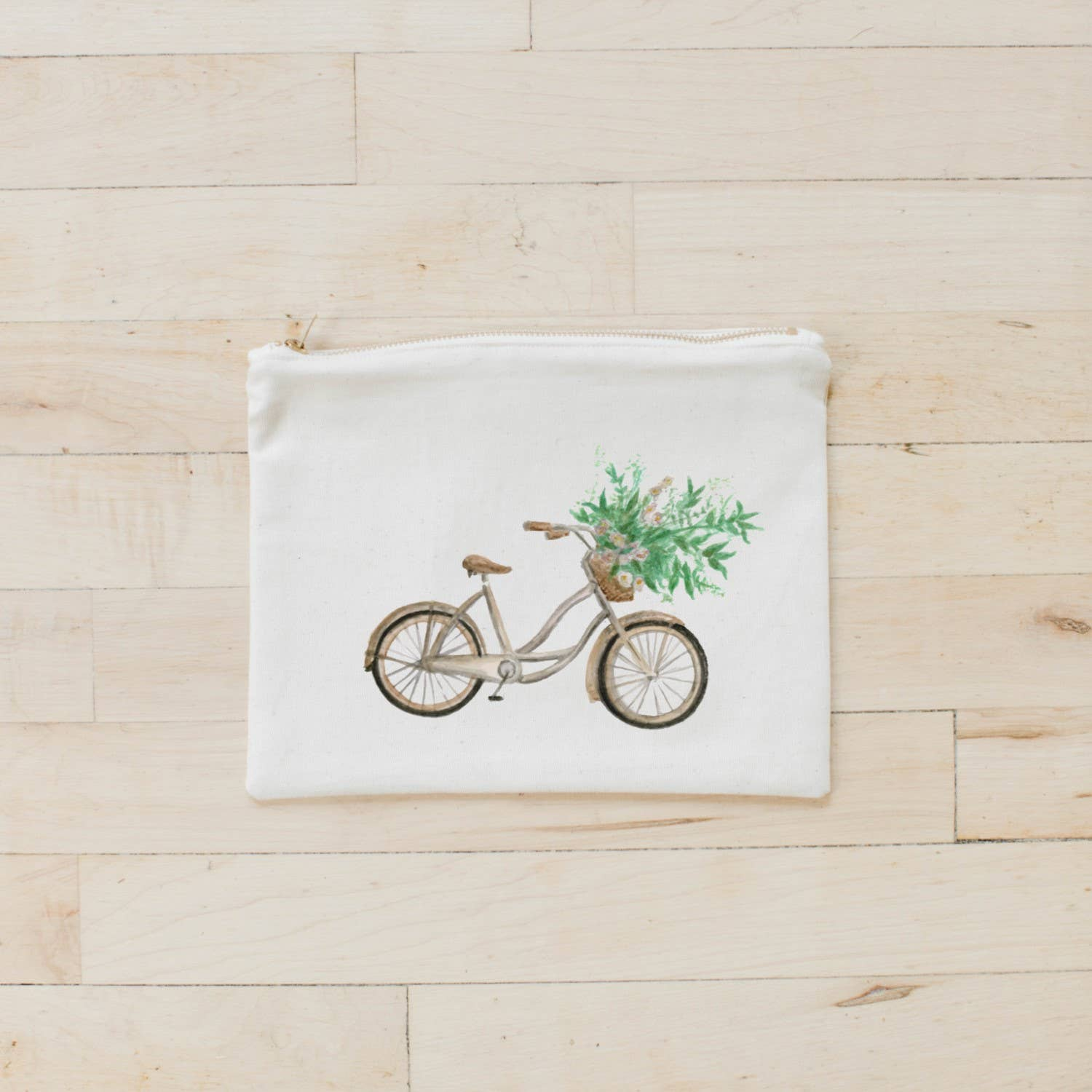 Cosmetic Bag | Floral Bike Watercolor