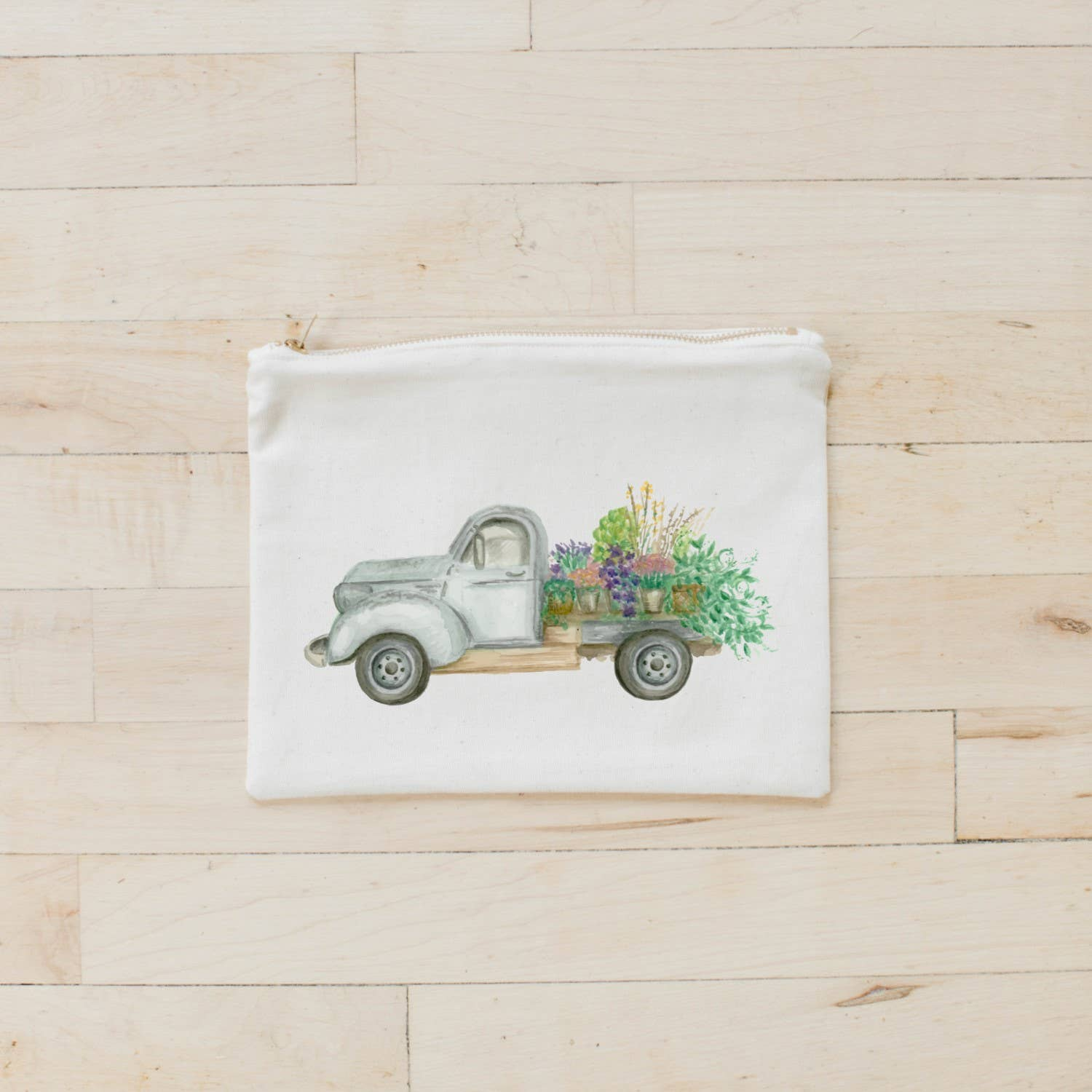 Cosmetic Bag | Floral Truck Watercolor