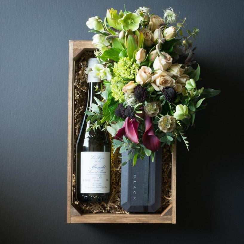 Chloe Gift Box  | Flowers + Ultra-Premium Chocolate + Organic White Wine