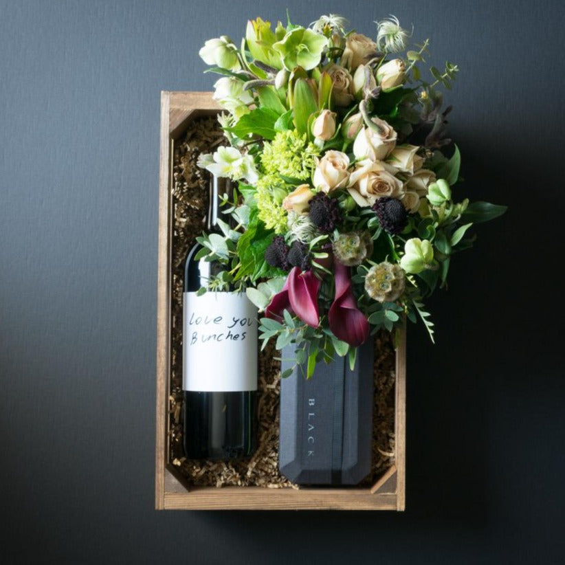 Chloe Gift Box | Flowers + Ultra-Premium Chocolate + Organic Sangiovese Red Wine