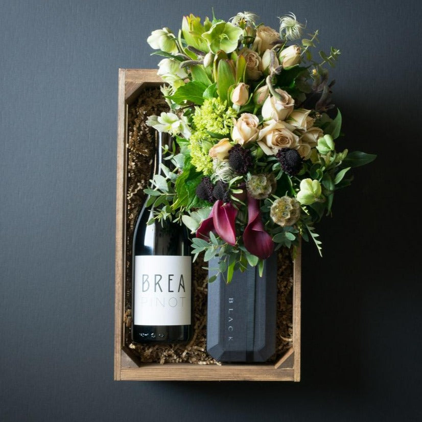 Chloe Gift Box | Flowers + Ultra-Premium Chocolate + Organic Pinot Red Wine