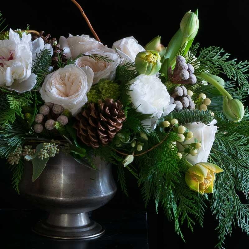 White Christmas, Holiday floral arrangement - white roses, white peonies, yellow tulips, and cones