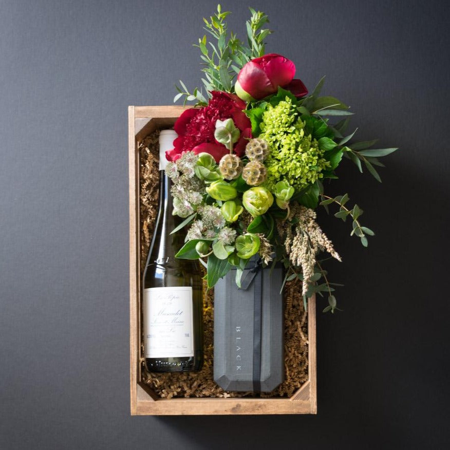 Ella Gift Box | Flowers + Ultra-Premium Chocolate + Organic White Wine