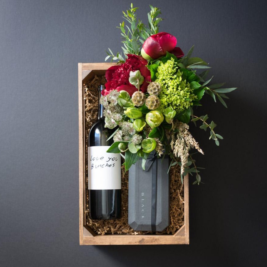 Ella Gift Box | Flowers + Ultra-Premium Chocolate + Organic Sangiovese Red Wine