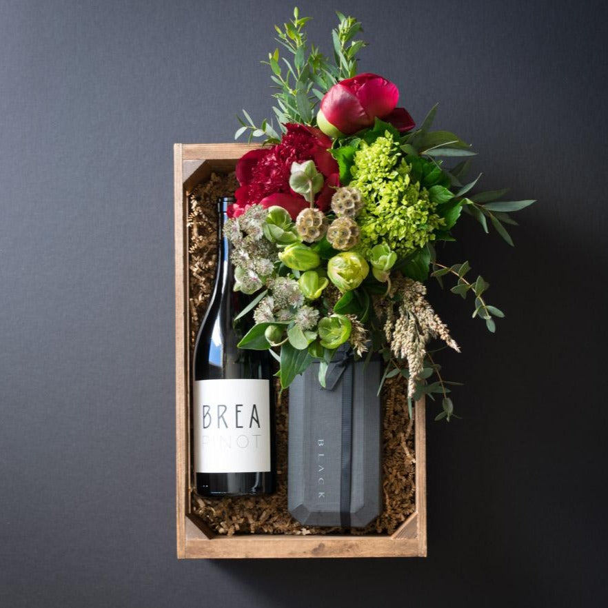 Ella Gift Box | Flowers + Ultra-Premium Chocolate + Organic Pinot Red Wine