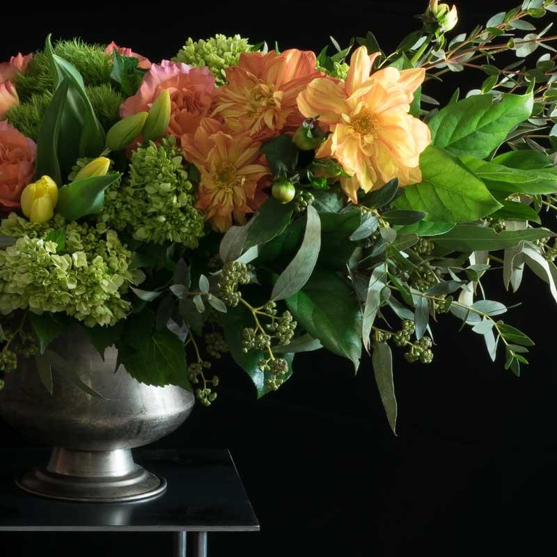 Yellow dahlias, yellow and orange roses luxe floral design