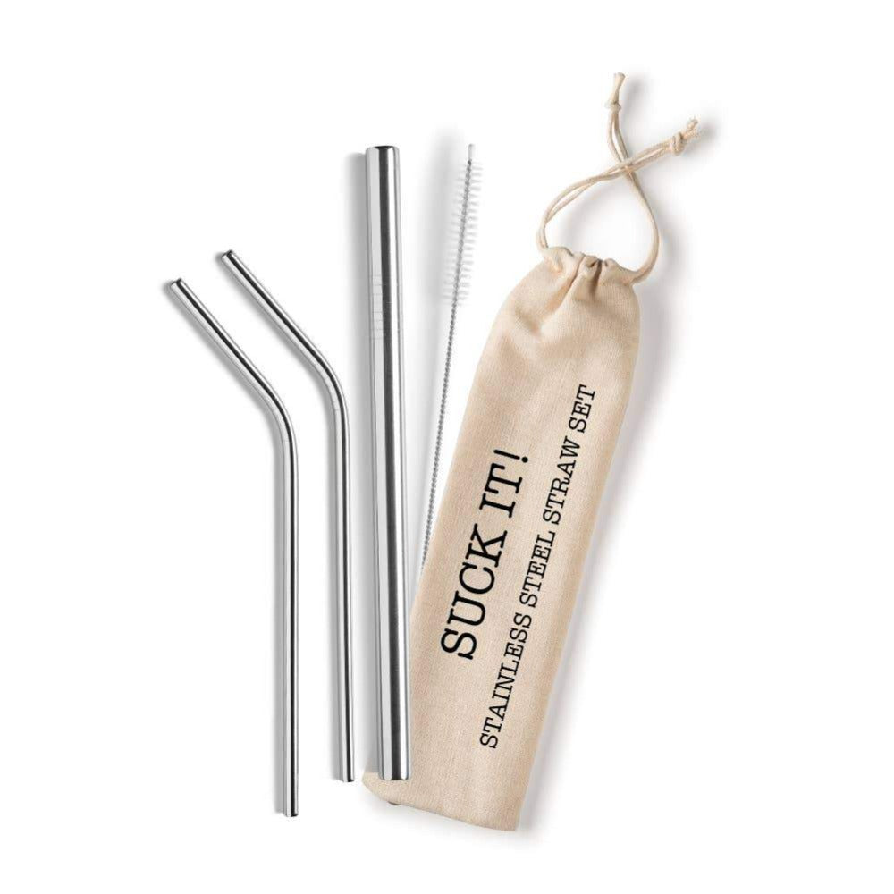 Set of 3 reusable stainless steel straws with cleaning brush and bag