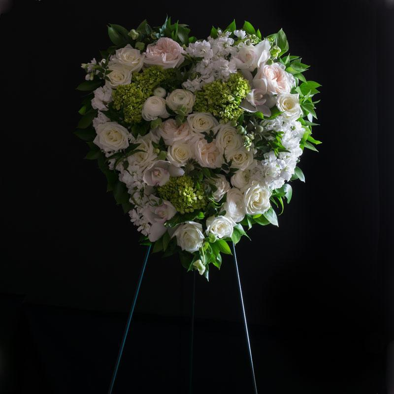Funeral | Sympathy Flowers - Filled Heart of white roses, light cream garden roses, and mini green hydrangeas.