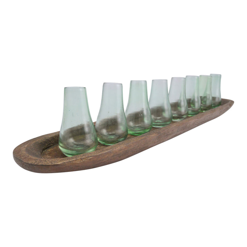 Tinted Vase Set Of 8 With Tray