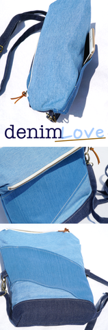 chic denim fold over crossbody handbag by Haute JS Design