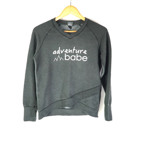 Adventure Babe Sweater | Acid Wash with Criss-Cross Hem
