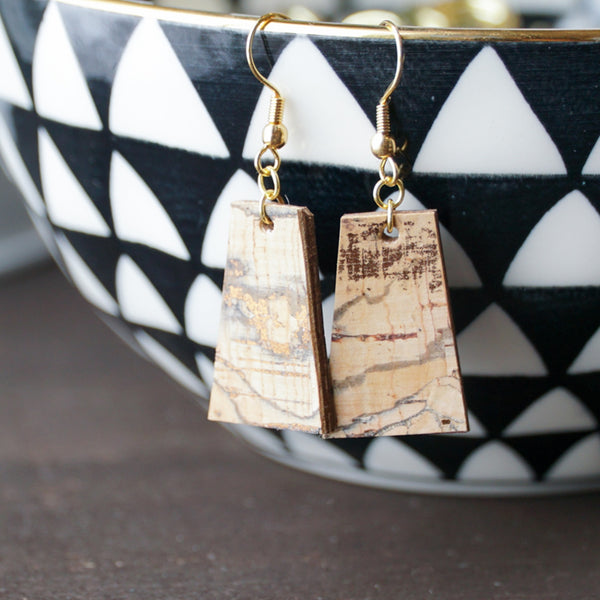 rose gold cork earrings