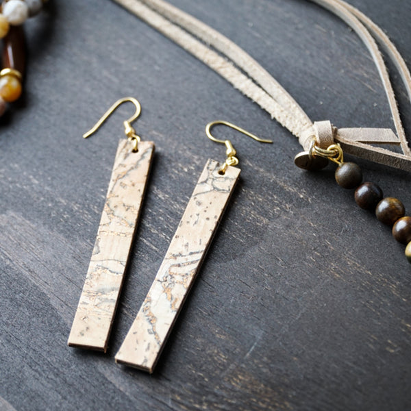 cork earrings handmade