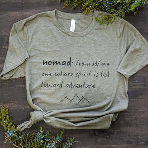 nomad definition wander t-shirt free spirit adventure girl travel she is not lost
