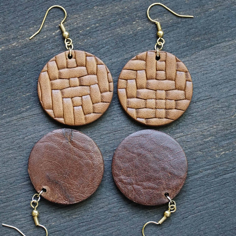 Basket Weave Leather Circles