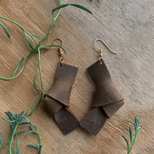 chunky leather earrings knot