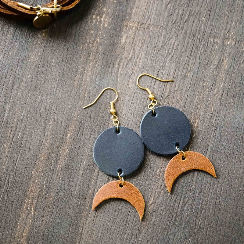 Leather Moon Earrings