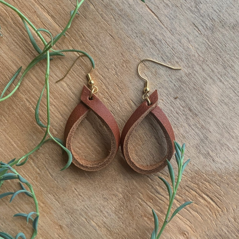 leather hoop earrings lightweight