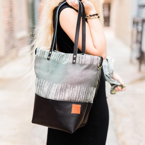 Urban Nomad Handbag | Black Leather + Gray Stripe