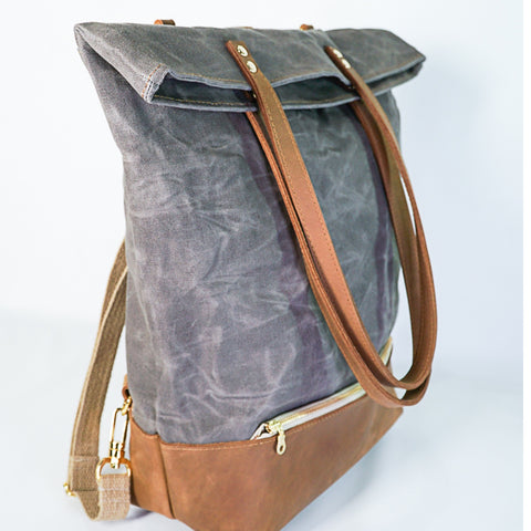 Convertible Backpack | Leather and Waxed Canvas