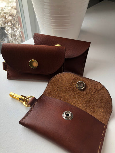 leather business card holder keychain