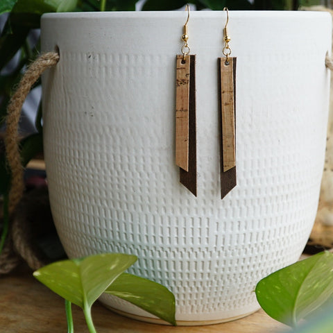 Leather Cork Layered Earrings