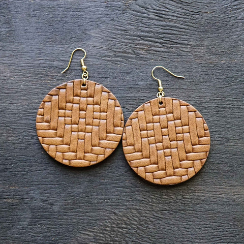 Basket Weave Leather Medallions