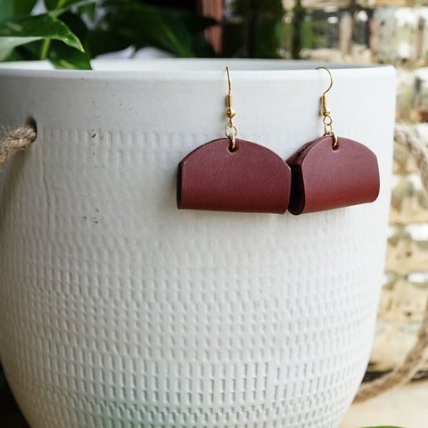 chunky leather earrings taco dome