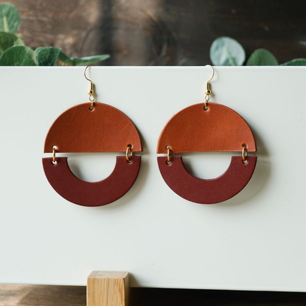 Terra Geometric Leather Earrings