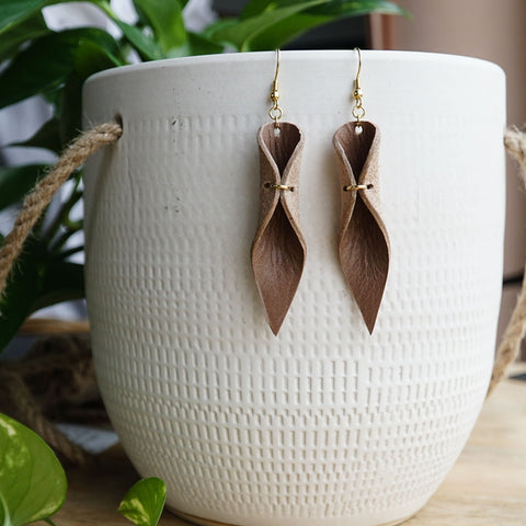 leather leaf earrings teardrop
