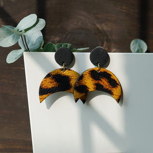 Leopard Print Geometric Leather Earrings