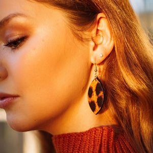 Leopard Print Leaf Earrings