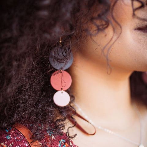 Orbit Geometric Leather Earrings