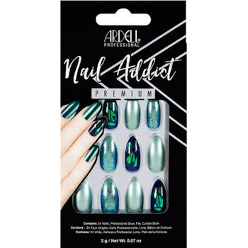 NAIL ADDICT PREMIUM ARTIFICIAL NAIL SET - GREEN GLITTER CHROME