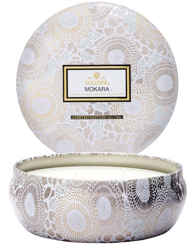 Mokara 3 Wick Candle in Decorative Tin 12 oz