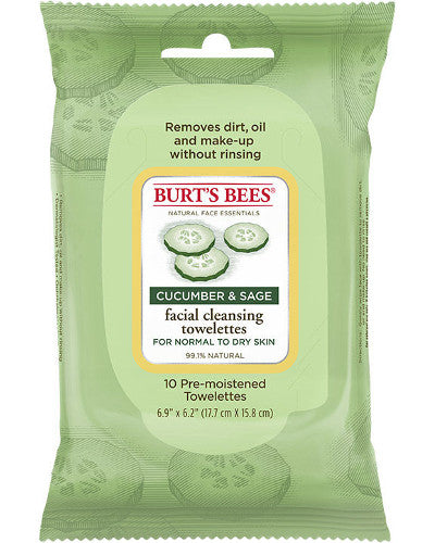 Facial Cleansing Towelettes Cucumber & Sage 10 Ct