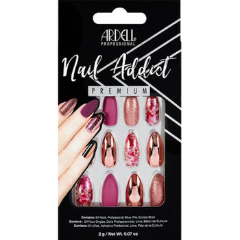 NAIL ADDICT PREMIUM ARTIFICIAL NAIL SET - CHROME PINK FOIL