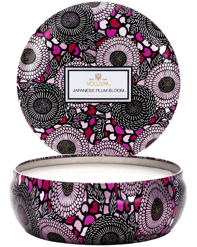 Japanese Plum Bloom 3 Wick Candle in Decorative Tin 12 oz