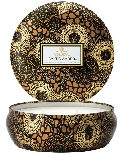 Baltic Amber 3 Wick Candle in Decorative Tin 12 oz
