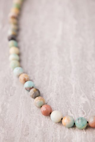 Amazonite Bead Necklace with Black Knots