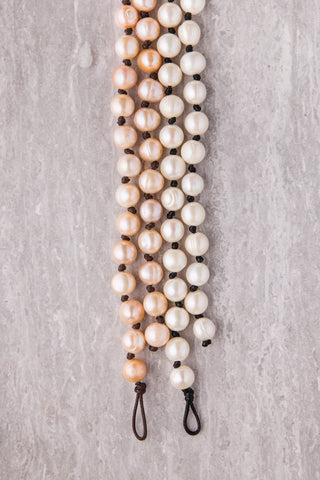 Freshwater Pearl Necklace with Leather Knots
