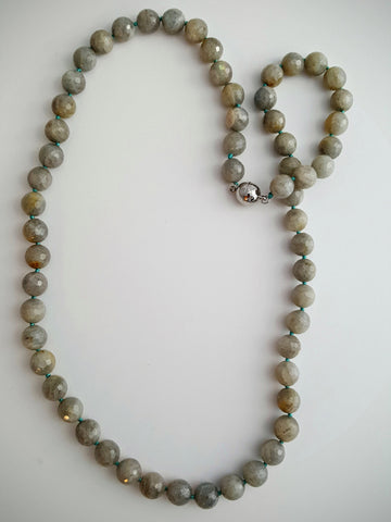 Labradorite Bead Necklace with Turquoise Knots
