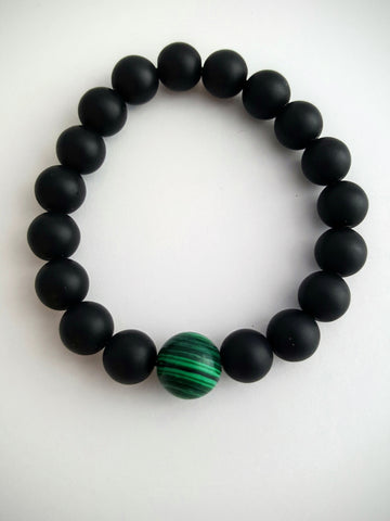 Matte Onyx Bead and 1 Stone Bracelet
