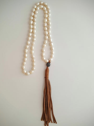Freshwater Potato Pearls Necklace with Leather tassel