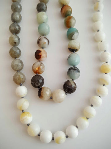 Amazonite, Labradorite and Tridacna Bead Necklace