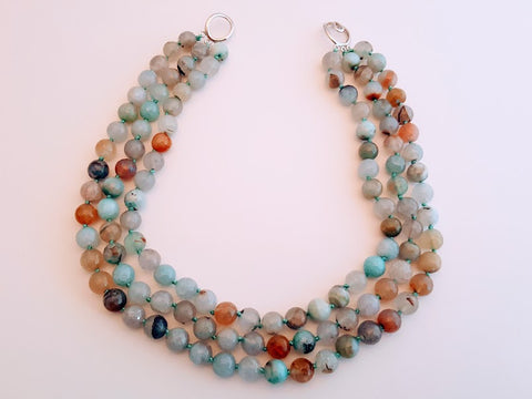 Turquoise Blue and Multi Colored Agate 3 Strand Necklace