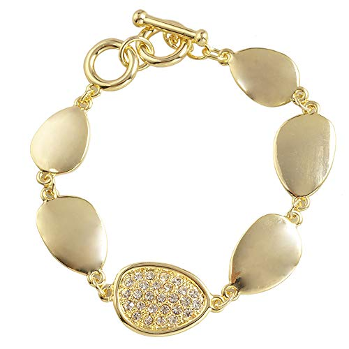 Plain Shinny Gold Irregular PAVE bean - Toggle Bracelet