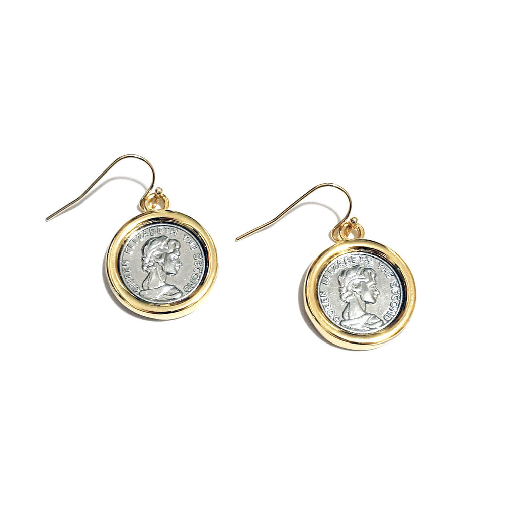 Two Tone Queen Elizabeth II Faux Coin Dangle Earrings
