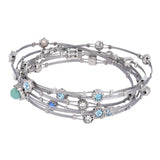 Colored Rhinestones & Faux Pearl/Turquoise Wire Bangle Set