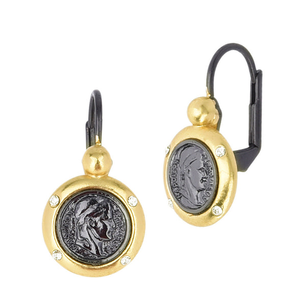 Emperor Napoleon Imitation Coin Two Tone Dangle Earrings